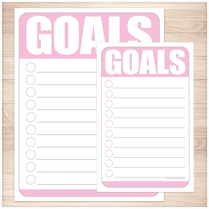Goals - Pink Full Page and Half Page Checklists - Printable, at Printable Planning