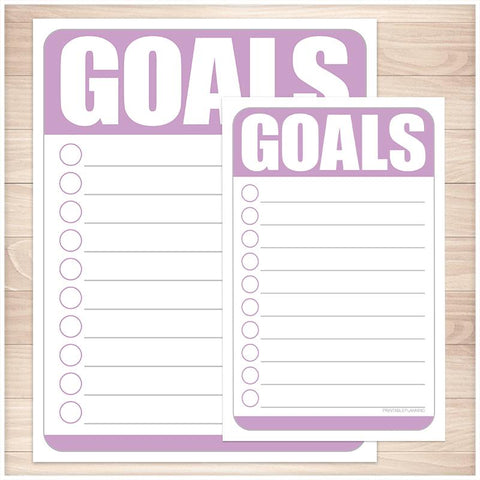 Goals - Purple Full Page and Half Page Checklists - Printable, at Printable Planning