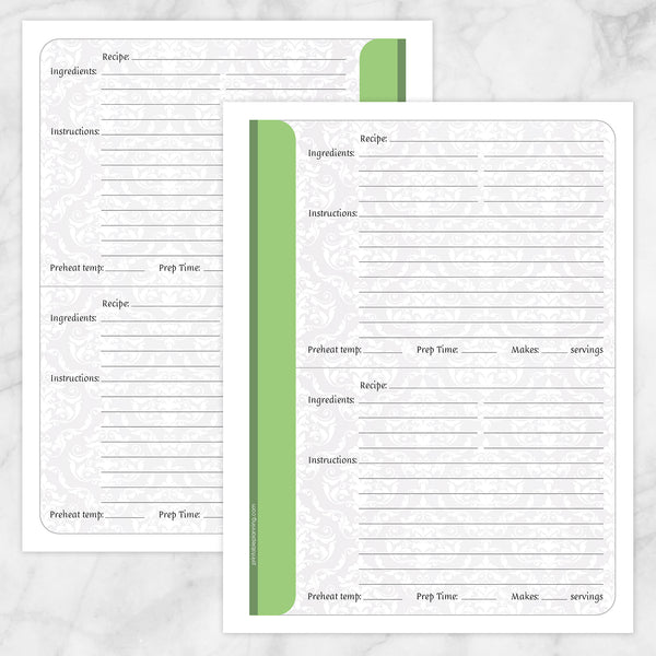 Printable Green Damask Recipe Pages at Printable Planning