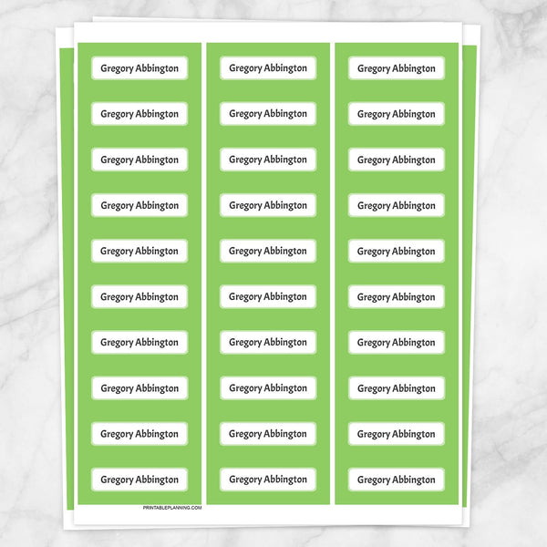 Printable Green Border Name Labels for School Supplies at Printable Planning