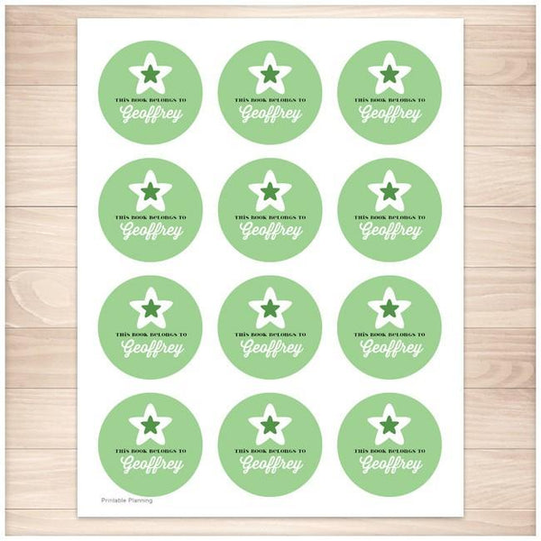 Green Star Personalized Bookplate Stickers - Printable Planning