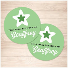Green Star Personalized Bookplate Stickers 2up - Printable Planning