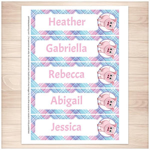 Personalized Happy Pig Pink Blue and Purple Plaid Bookmarks - Printable