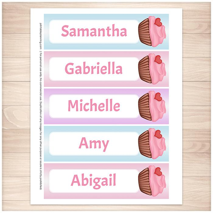 Personalized Heart Cupcake Pink Blue and Purple Bookmarks - Printable