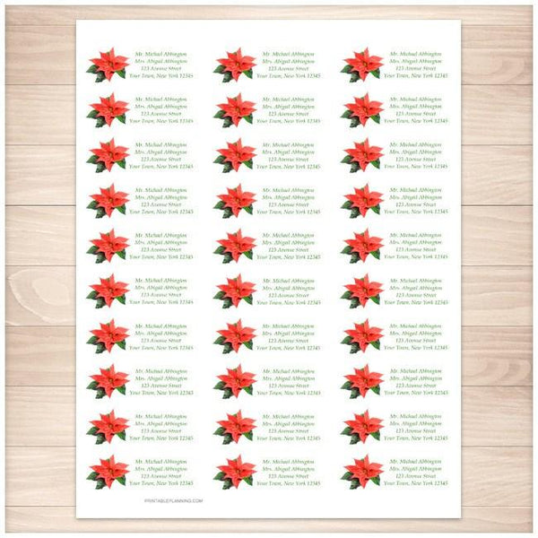 Holiday Personalized Poinsettia Address Labels 30up - Printable Planning
