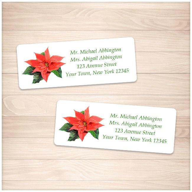 holiday personalized poinsettia address labels printable at