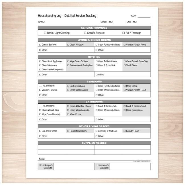 Housekeeping Log - Detailed Cleaning Service Tracking - Printable, at Printable Planning