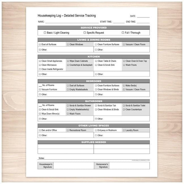 Housekeeping Log - Detailed Cleaning Service Tracking - Printable Planning