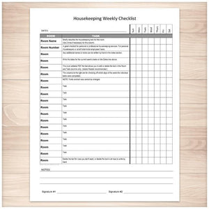 Housekeeping Weekly Checklist - Cleaning Services Editable Room and Task List - Printable Planning