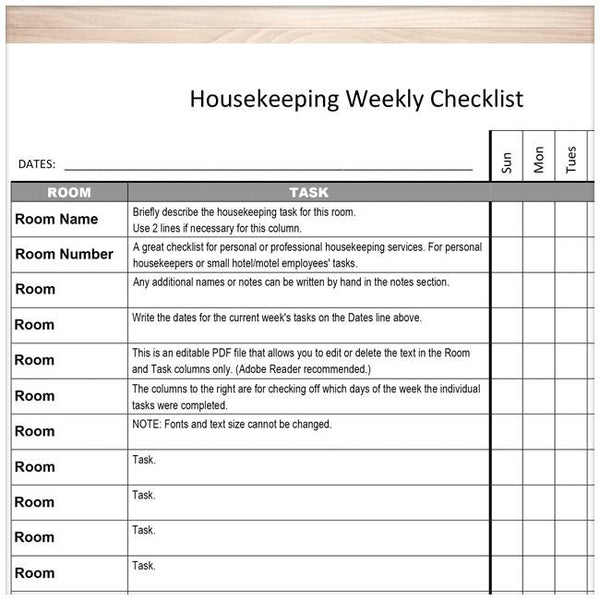 Housekeeping Weekly Checklist - Cleaning Services Editable Room and Task List CLOSEUP - Printable Planning