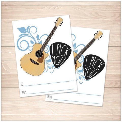 Printable I Pick You Guitar Valentine's Day Cards at Printable Planning