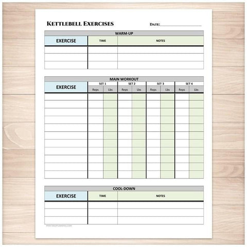 Kettlebell Exercises Sheet with Warm-up and Cool-down - Printable Planning