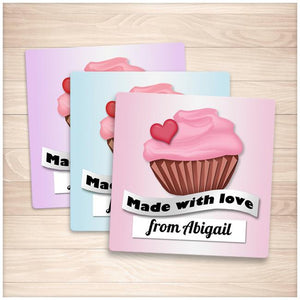 Personalized Cupcake 'Made with Love' Baking Stickers - Printable Planning