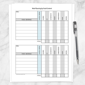 Printable Meal Planning by Food Content Planner Page at Printable Planning