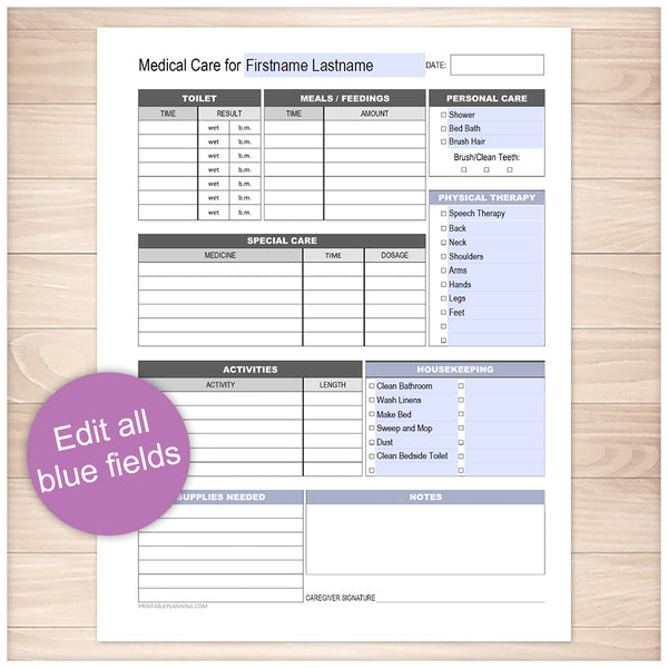 Printable Medical Care, Daily Care Sheet with Housekeeping at Printable Planning