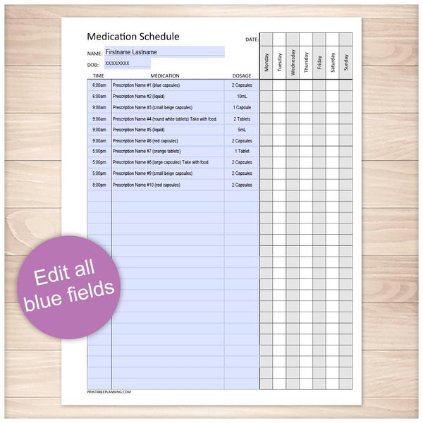Printable Medication Schedule for Long Prescription Medicine Lists, at Printable Planning