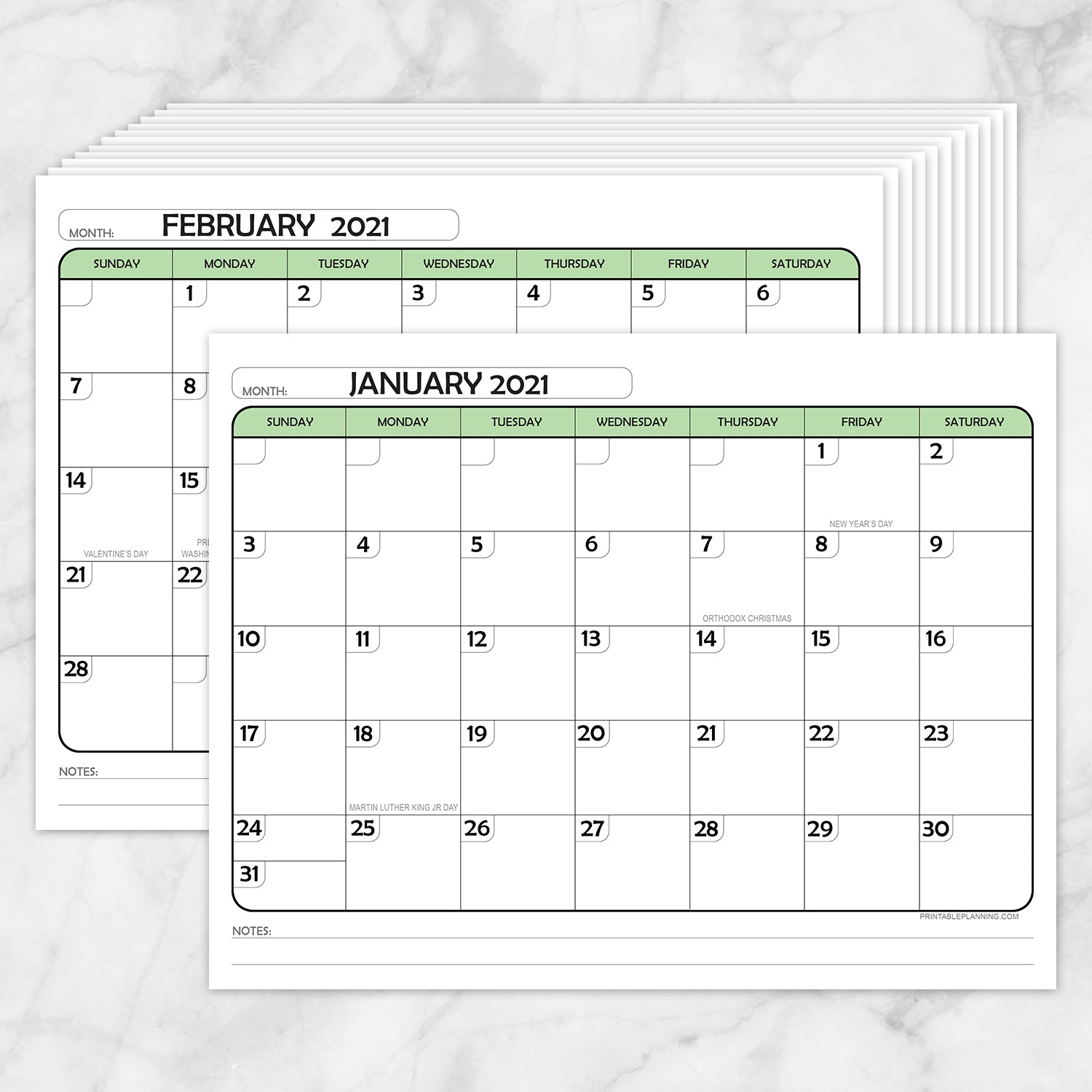 Printable Modern Green 2021 Calendar pages at Printable Planning