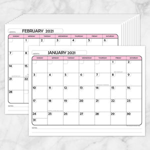 Printable Modern Pink 2021 Calendar pages at Printable Planning