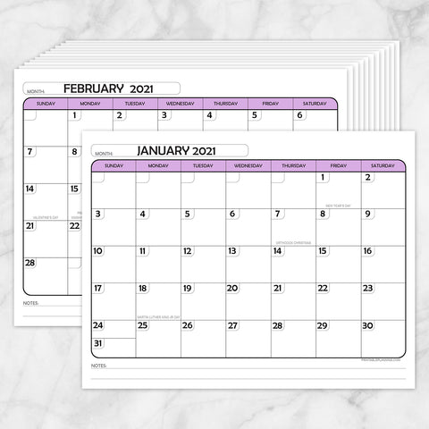 Printable Modern Purple 2021 Calendar pages at Printable Planning