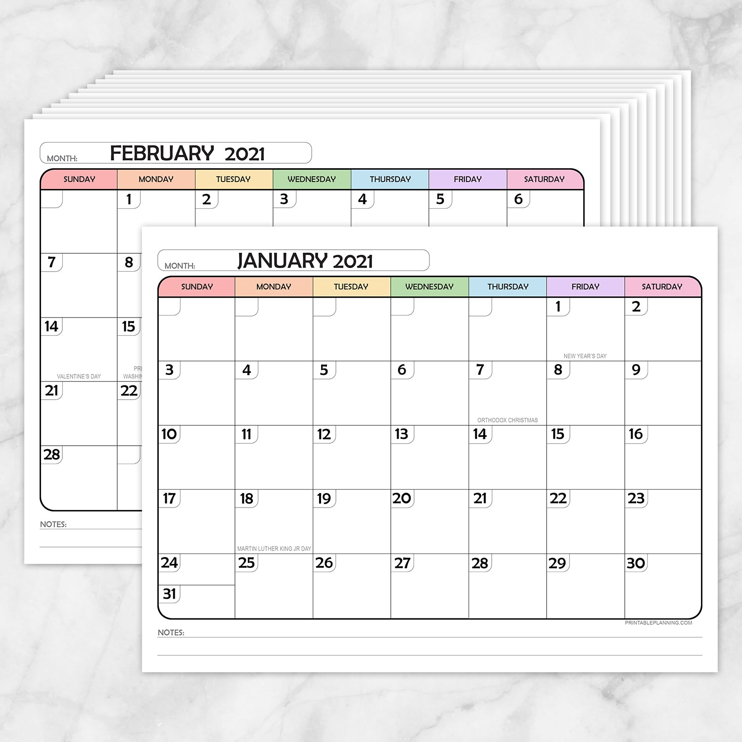 Printable Modern Rainbow 2021 Calendar pages at Printable Planning