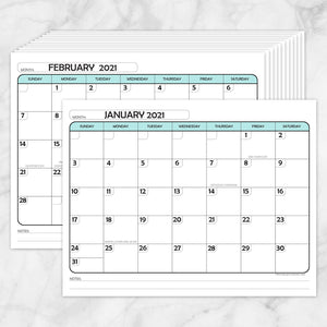 Printable Modern Teal 2021 Calendar pages at Printable Planning