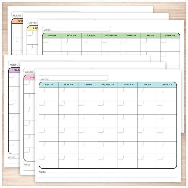 Modern Blank Month Calendar - 6 Full Page BUNDLE - Printable Planning