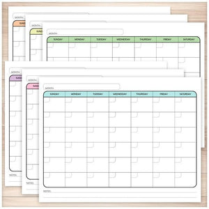 Modern Blank Monthly Calendar - 6 Full Page BUNDLE - Printable, at Printable Planning