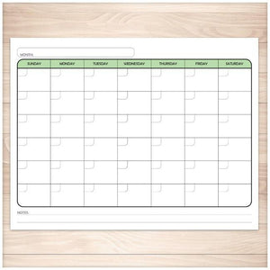Modern Blank Monthly Calendar - Green, Full Page - Printable, at Printable Planning