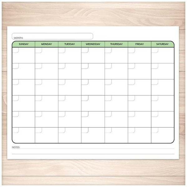 Modern Blank Month Calendar - GREEN Full Page - Printable Planning