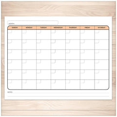 Modern Blank Month Calendar - ORANGE Full Page - Printable Planning
