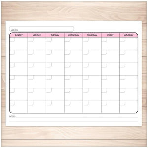 Modern Blank Monthly Calendar - Pink, Full Page - Printable, at Printable Planning