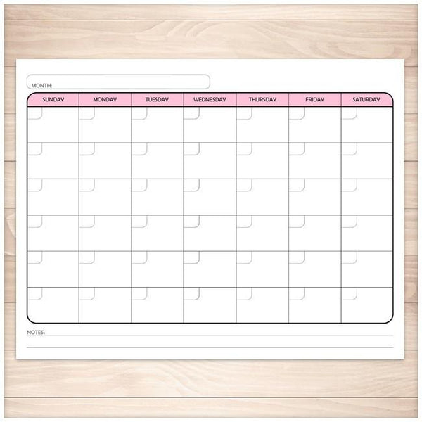 Modern Blank Monthly Calendar - Pink, Full Page ...