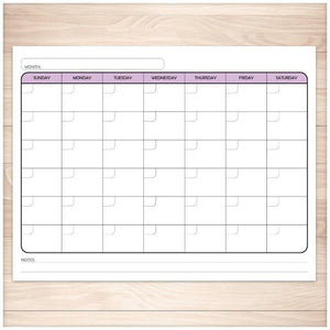 Modern Blank Monthly Calendar - Purple, Full Page - Printable, at Printable Planning