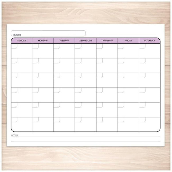 Modern Blank Month Calendar - PURPLE Full Page - Printable Planning