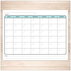 Modern Blank Monthly Calendar - Teal, Full Page - Printable, at Printable Planning
