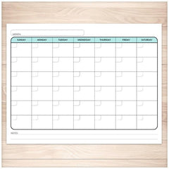 Modern Blank Monthly Calendar - Teal, Full Page - Printable Planning