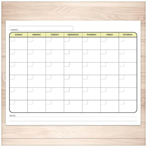 Modern Blank Monthly Calendar - Yellow, Full Page - Printable, at Printable Planning