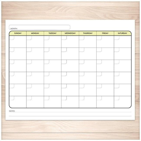 Modern Blank Month Calendar - YELLOW Full Page - Printable Planning