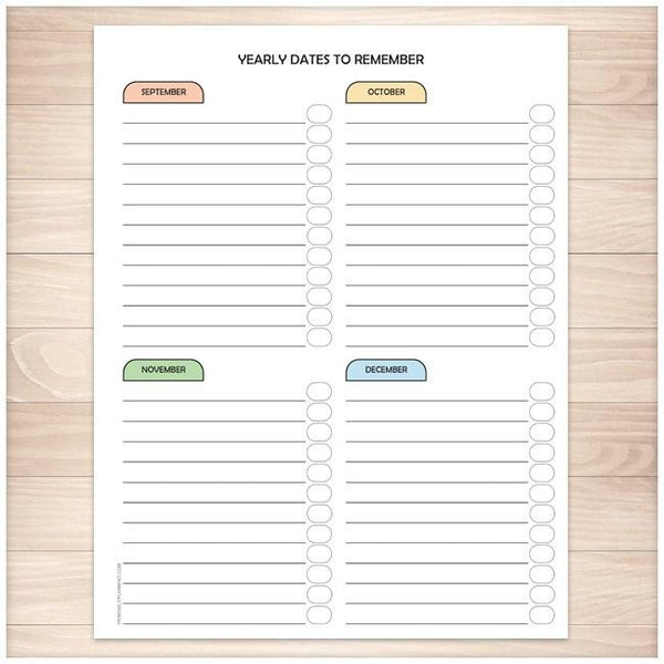 Modern Yearly Dates to Remember page - 3 of 3 - Printable Planning