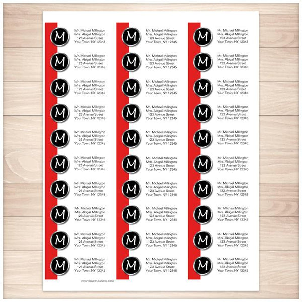 Modern Monogram Red Address Labels - Printable Planning