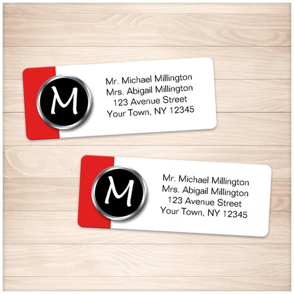 Modern Monogram Red Address Labels - Printable