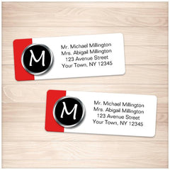 Modern Monogram Red Address Labels - Printable at Printable Planning