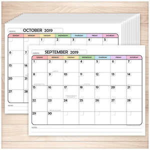 Printable Rainbow 2019-2020 School Year Calendar pages at Printable Planning