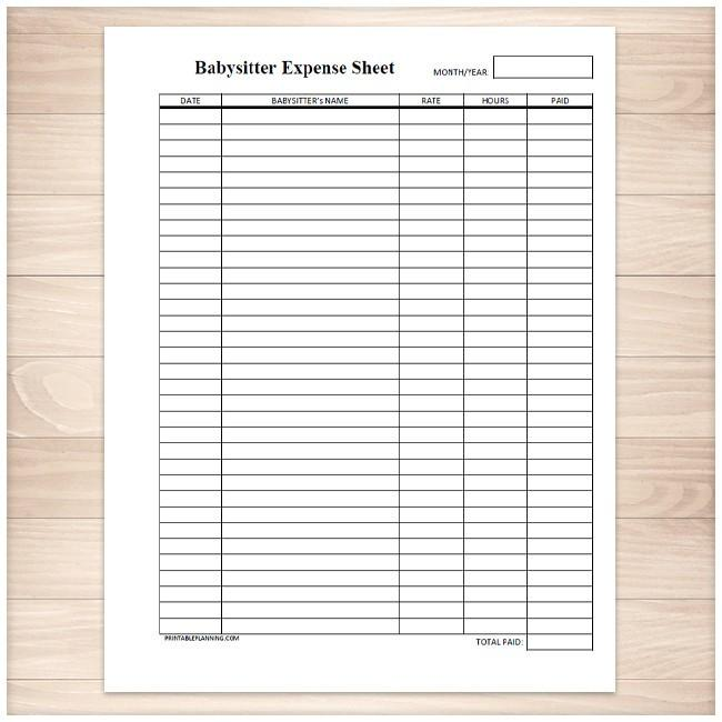 Monthly Babysitter Expense Sheet   Printable At Printable Planning For Only  5.00