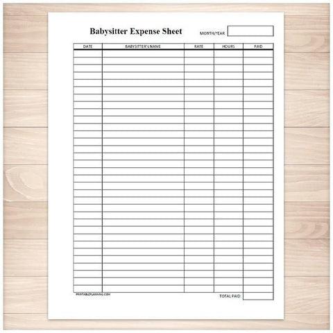 Monthly Babysitter Expense Sheet - Printable, at Printable Planning