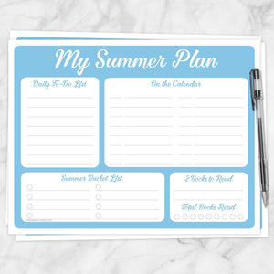 Printable My Summer Plan, Blue Planner Page at Printable Planning