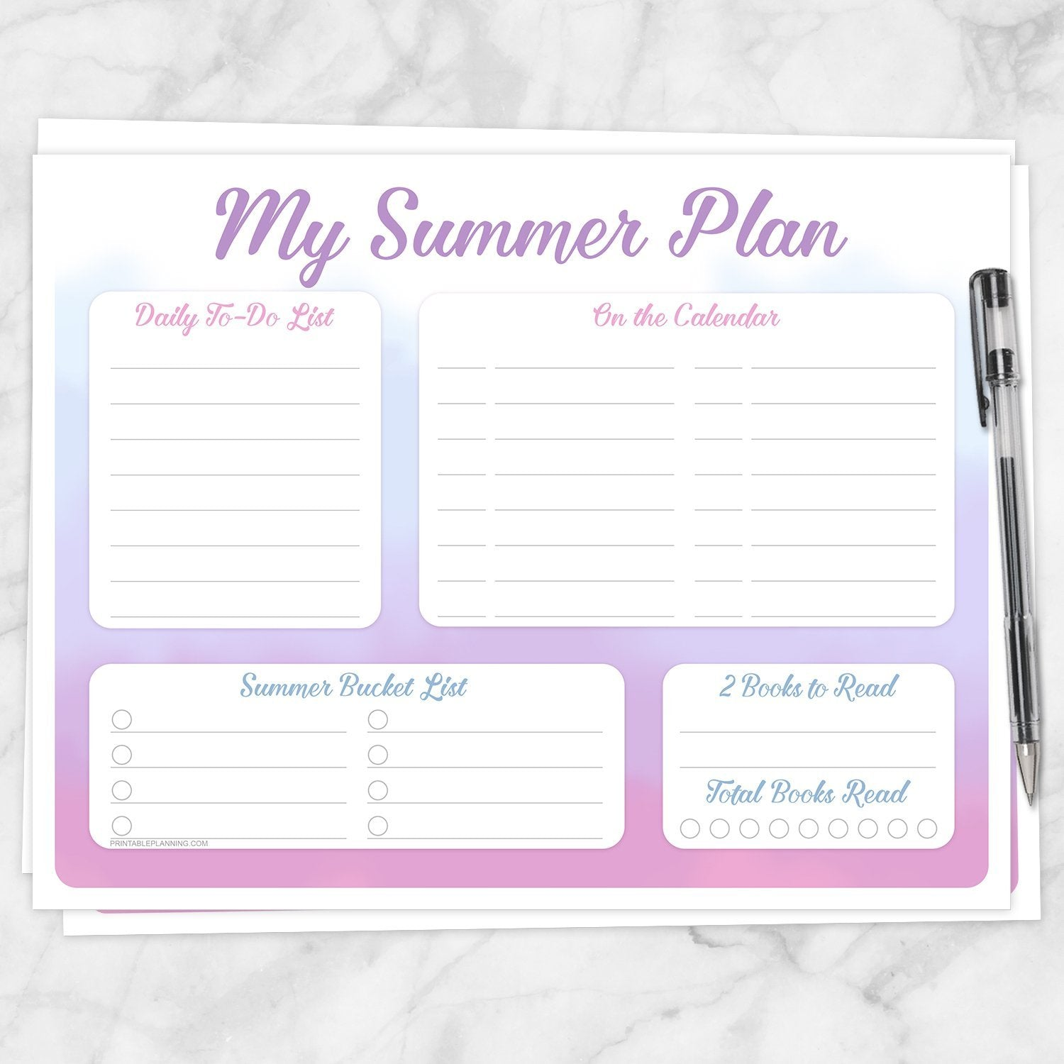 Printable My Summer Plan, Watercolor Planner Page in Pink Purple Blue at Printable Planning