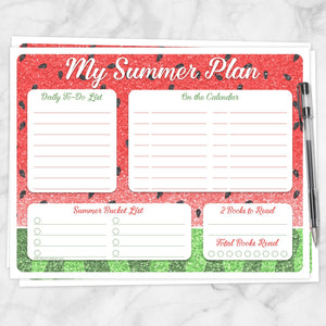 Printable My Summer Plan, Watermelon Summer Planner Page at Printable Planning