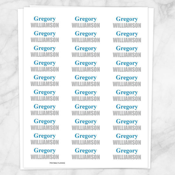 Name Labels Blue and Gray for School Supplies - Printable, at Printable Planning