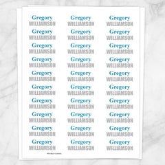 Name Labels Blue & Gray for School Supplies FULL SHEET - Printable Planning